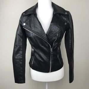 BEBE Black Faux Leather Moto Jacket Quilted XS